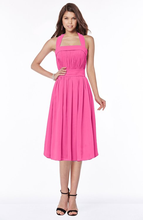 ColsBM Montana Rose Pink Luxury A-line Sleeveless Chiffon Pleated Bridesmaid Dresses