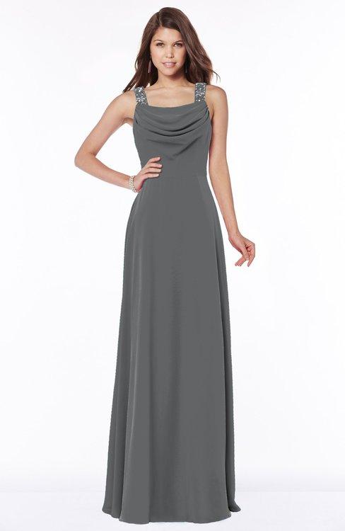 ColsBM Thea Grey Elegant Wide Square Sleeveless Half Backless Chiffon Beaded Bridesmaid Dresses