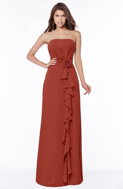 ColsBM Aimee Rust Antique Bateau Half Backless Chiffon Floor Length Bridesmaid Dresses