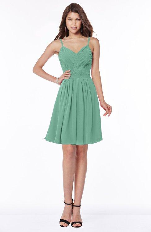 ColsBM Vera Beryl Green Modest A-line Sleeveless Zip up Knee Length Ruching Bridesmaid Dresses