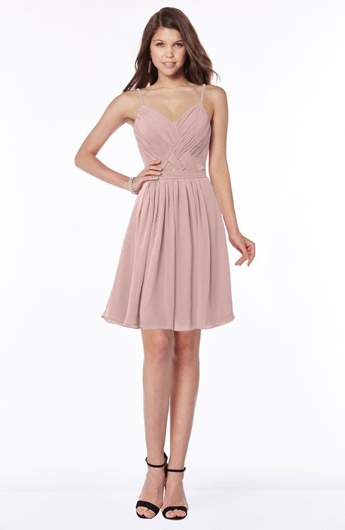 ColsBM Vera Blush Pink Modest A-line Sleeveless Zip up Knee Length Ruching Bridesmaid Dresses