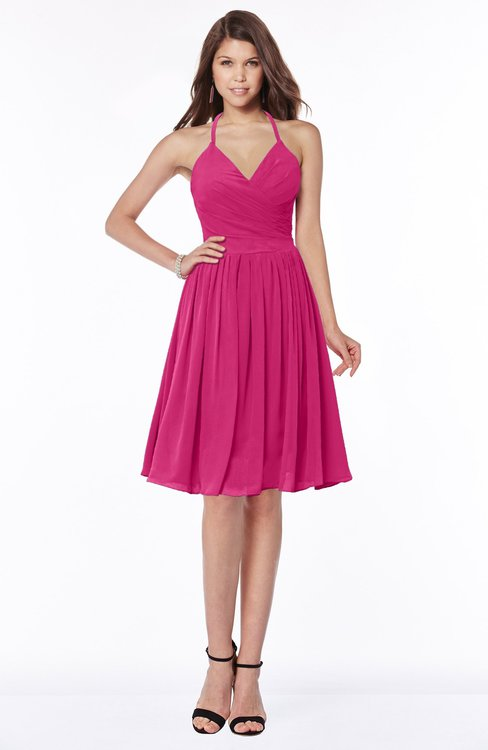 ColsBM Raine Beetroot Purple Traditional Halter Sleeveless Chiffon Knee Length Bridesmaid Dresses