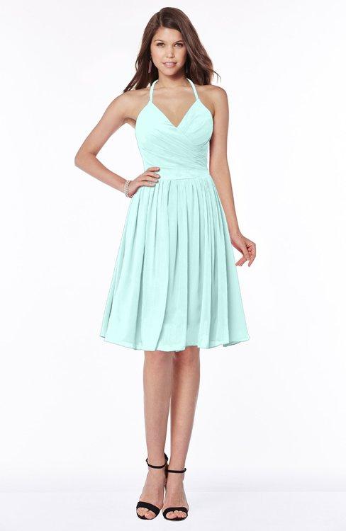 ColsBM Raine Blue Glass Traditional Halter Sleeveless Chiffon Knee Length Bridesmaid Dresses