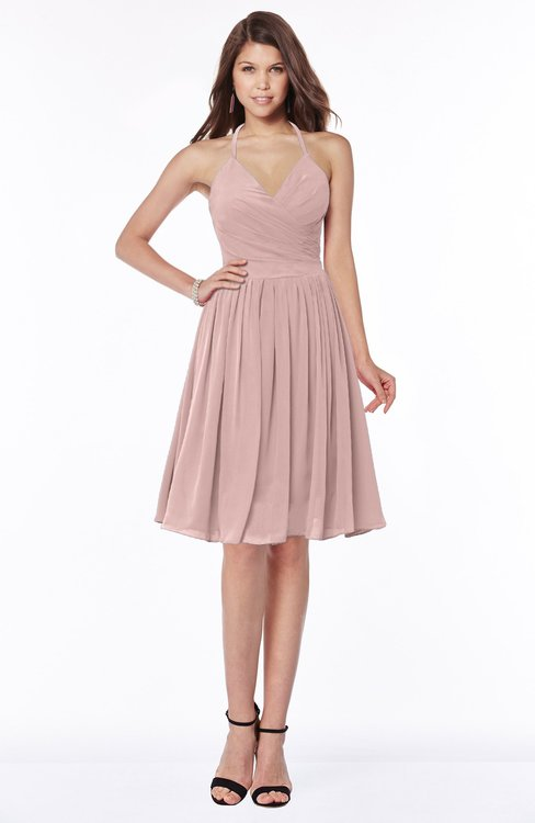 ColsBM Raine Blush Pink Traditional Halter Sleeveless Chiffon Knee Length Bridesmaid Dresses