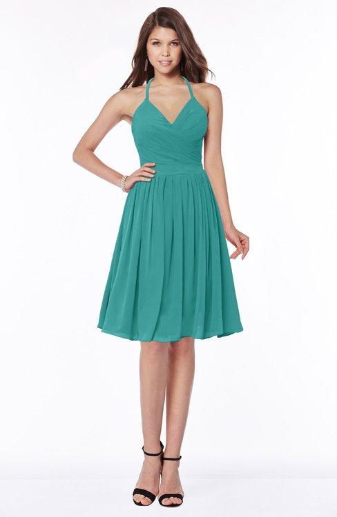 ColsBM Raine Emerald Green Traditional Halter Sleeveless Chiffon Knee Length Bridesmaid Dresses