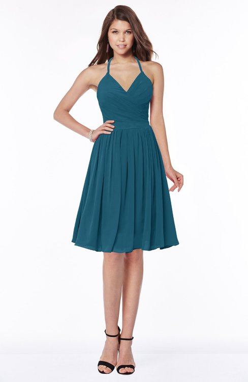 ColsBM Raine Moroccan Blue Traditional Halter Sleeveless Chiffon Knee Length Bridesmaid Dresses