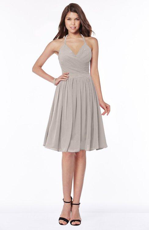 ColsBM Raine Mushroom Traditional Halter Sleeveless Chiffon Knee Length Bridesmaid Dresses