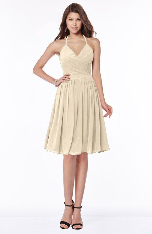 ColsBM Raine Novelle Peach Traditional Halter Sleeveless Chiffon Knee Length Bridesmaid Dresses