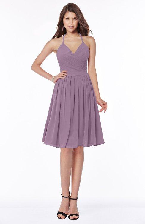 ColsBM Raine Valerian Traditional Halter Sleeveless Chiffon Knee Length Bridesmaid Dresses