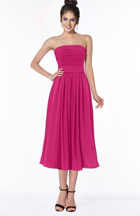 ColsBM Deborah Beetroot Purple Luxury Sleeveless Half Backless Chiffon Knee Length Pick up Bridesmaid Dresses