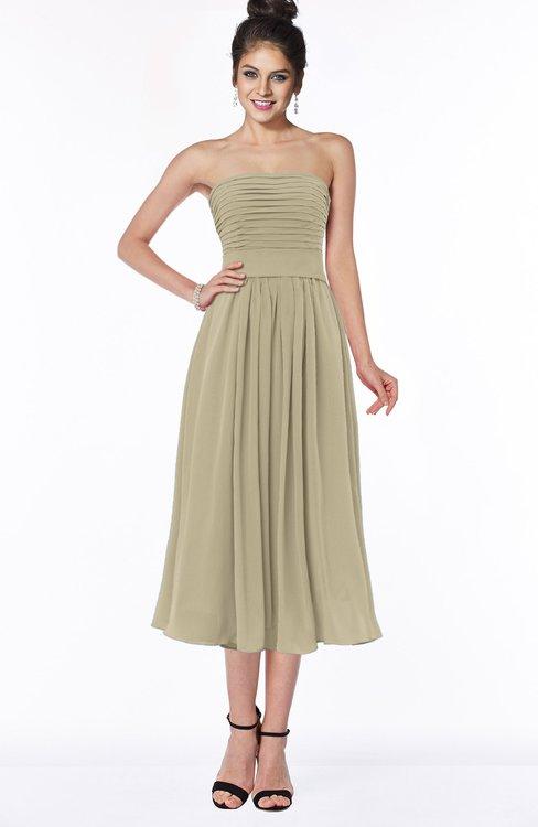 ColsBM Deborah Candied Ginger Luxury Sleeveless Half Backless Chiffon Knee Length Pick up Bridesmaid Dresses