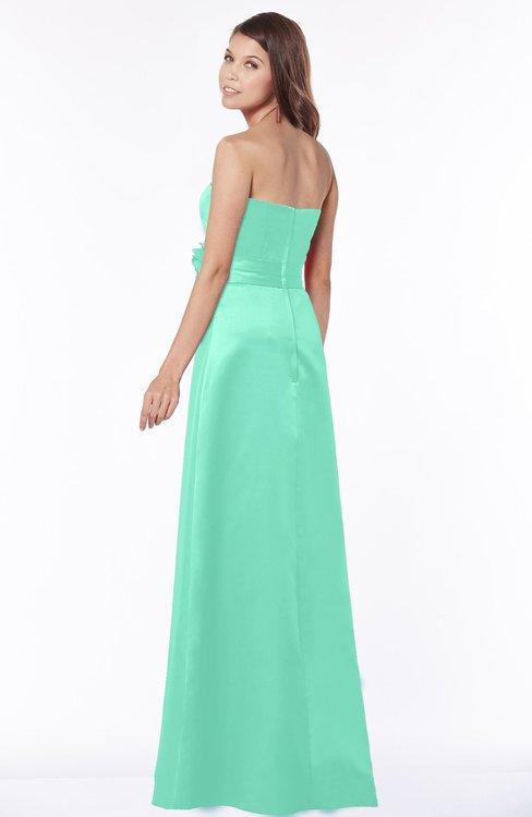 Colsbm Lyric Mint Green Modest A Line Strapless Sleeveless Half Backless Satin Bridesmaid Dresses