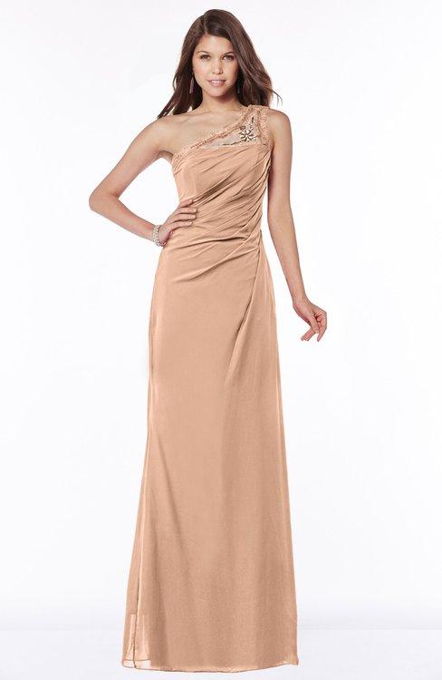 ColsBM Kathleen Almost Apricot Mature A-line One Shoulder Half Backless Floor Length Lace Bridesmaid Dresses
