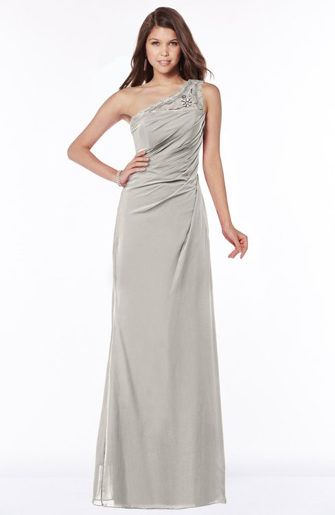 ColsBM Kathleen Ashes Of Roses Mature A-line One Shoulder Half Backless Floor Length Lace Bridesmaid Dresses