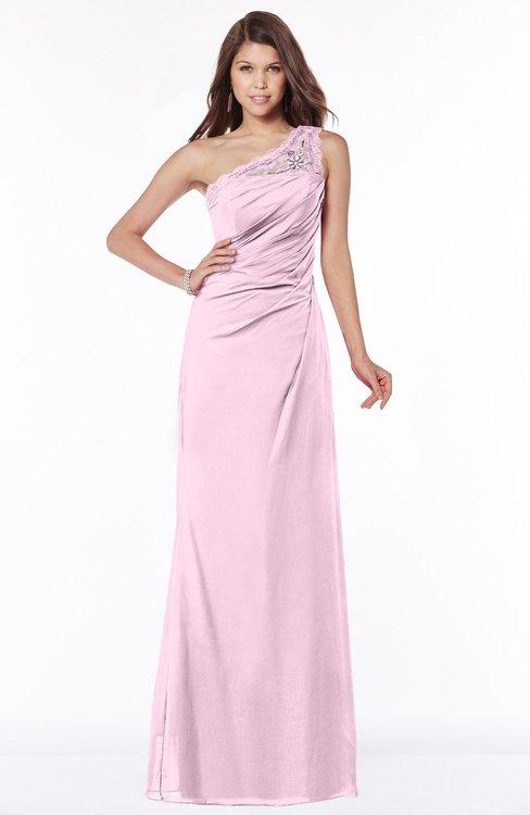 ColsBM Kathleen Baby Pink Mature A-line One Shoulder Half Backless Floor Length Lace Bridesmaid Dresses