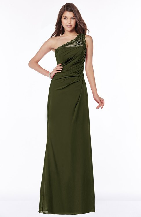ColsBM Kathleen Beech Mature A-line One Shoulder Half Backless Floor Length Lace Bridesmaid Dresses