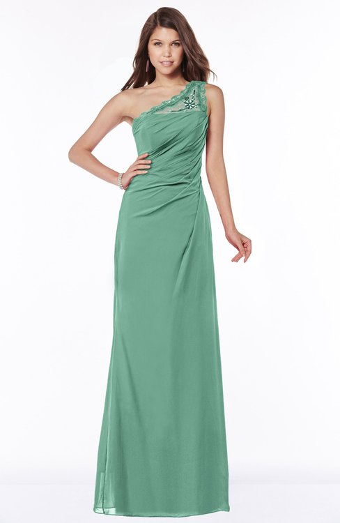 ColsBM Kathleen Beryl Green Mature A-line One Shoulder Half Backless Floor Length Lace Bridesmaid Dresses