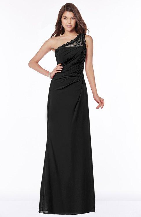 ColsBM Kathleen Black Mature A-line One Shoulder Half Backless Floor Length Lace Bridesmaid Dresses