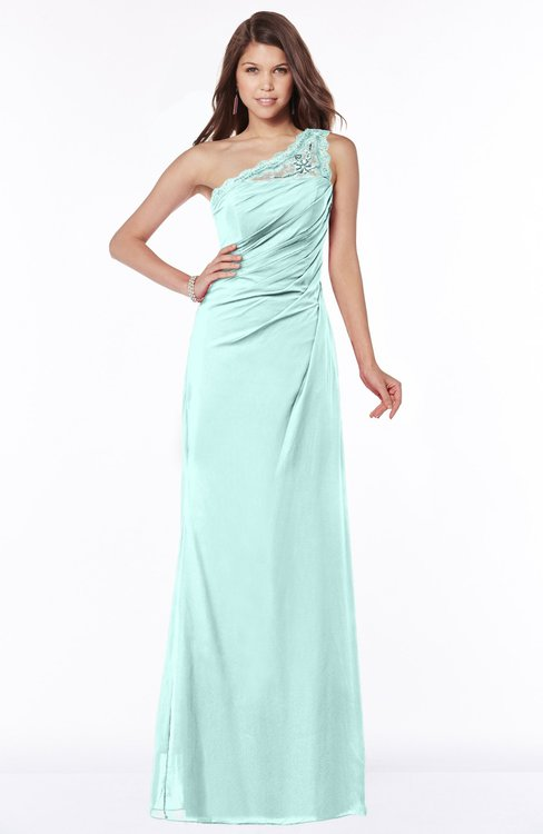 ColsBM Kathleen Blue Glass Mature A-line One Shoulder Half Backless Floor Length Lace Bridesmaid Dresses