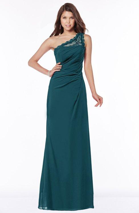 ColsBM Kathleen Blue Green Mature A-line One Shoulder Half Backless Floor Length Lace Bridesmaid Dresses