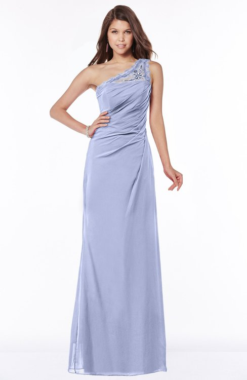 ColsBM Kathleen Blue Heron Mature A-line One Shoulder Half Backless Floor Length Lace Bridesmaid Dresses