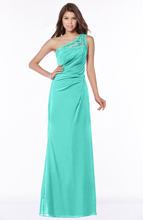 ColsBM Kathleen Blue Turquoise Mature A-line One Shoulder Half Backless Floor Length Lace Bridesmaid Dresses