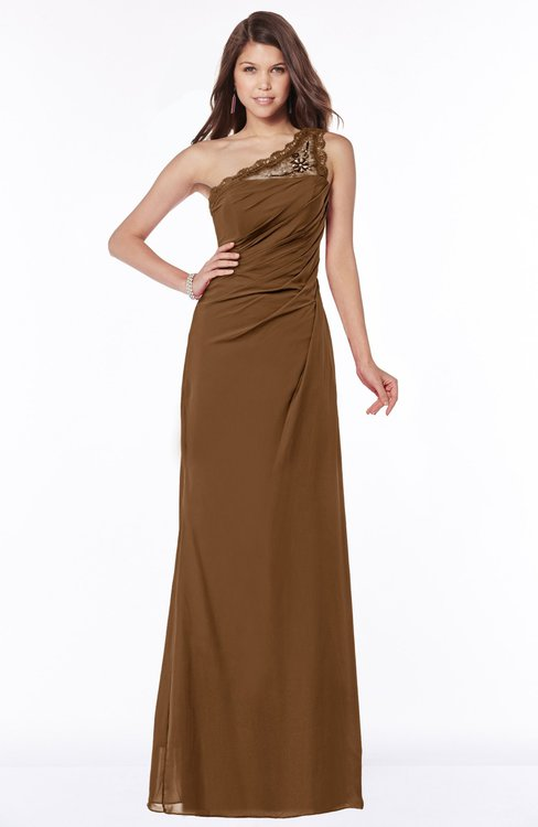 ColsBM Kathleen Brown Mature A-line One Shoulder Half Backless Floor Length Lace Bridesmaid Dresses