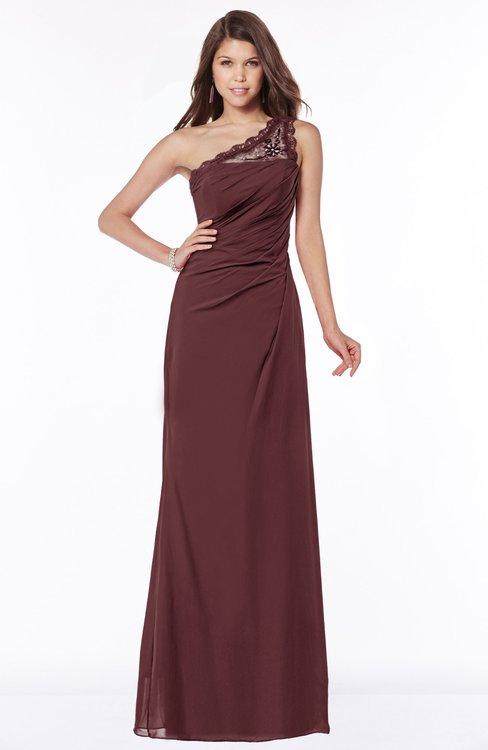 ColsBM Kathleen Burgundy Mature A-line One Shoulder Half Backless Floor Length Lace Bridesmaid Dresses
