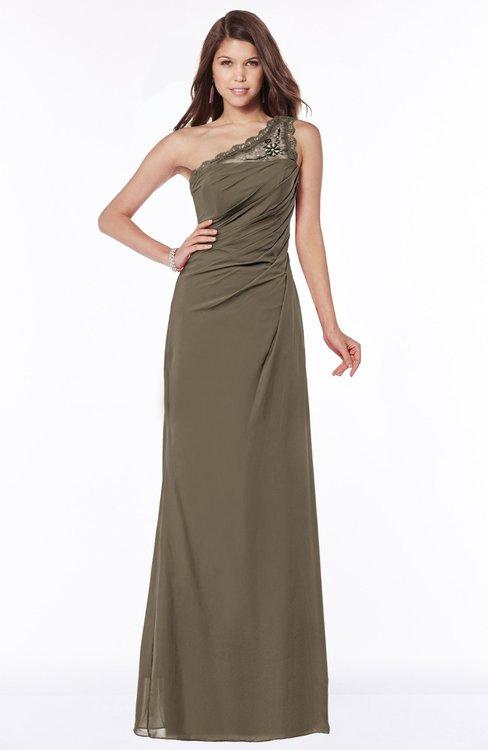 ColsBM Kathleen Carafe Brown Mature A-line One Shoulder Half Backless Floor Length Lace Bridesmaid Dresses
