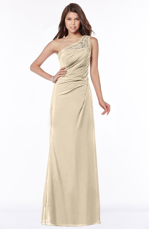 ColsBM Kathleen Champagne Mature A-line One Shoulder Half Backless Floor Length Lace Bridesmaid Dresses