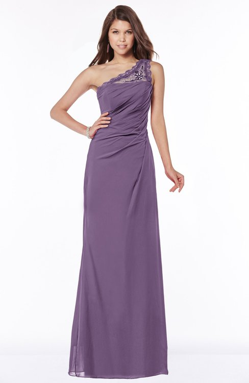 ColsBM Kathleen Chinese Violet Mature A-line One Shoulder Half Backless Floor Length Lace Bridesmaid Dresses