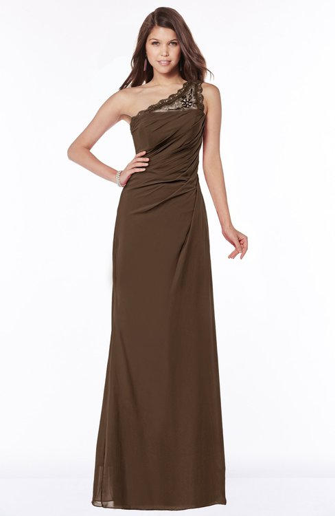 ColsBM Kathleen Chocolate Brown Mature A-line One Shoulder Half Backless Floor Length Lace Bridesmaid Dresses