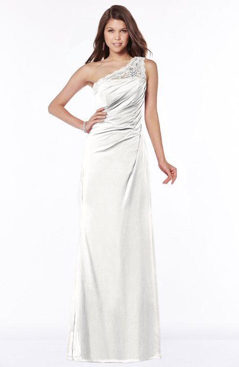 ColsBM Kathleen Cloud White Mature A-line One Shoulder Half Backless Floor Length Lace Bridesmaid Dresses