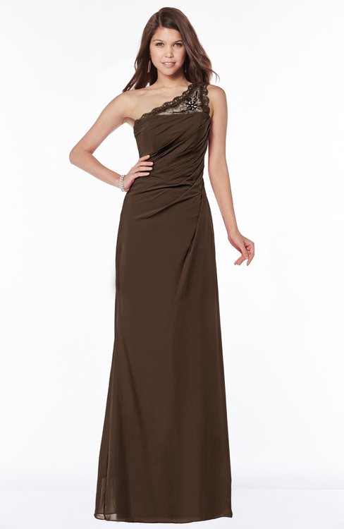 ColsBM Kathleen Copper Mature A-line One Shoulder Half Backless Floor Length Lace Bridesmaid Dresses
