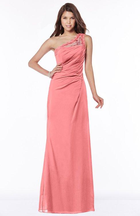ColsBM Kathleen Coral Mature A-line One Shoulder Half Backless Floor Length Lace Bridesmaid Dresses