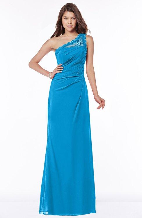 ColsBM Kathleen Cornflower Blue Mature A-line One Shoulder Half Backless Floor Length Lace Bridesmaid Dresses