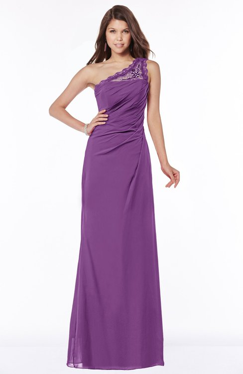 ColsBM Kathleen Dahlia Mature A-line One Shoulder Half Backless Floor Length Lace Bridesmaid Dresses