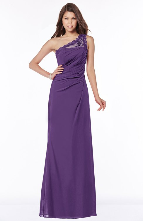 ColsBM Kathleen Dark Purple Mature A-line One Shoulder Half Backless Floor Length Lace Bridesmaid Dresses