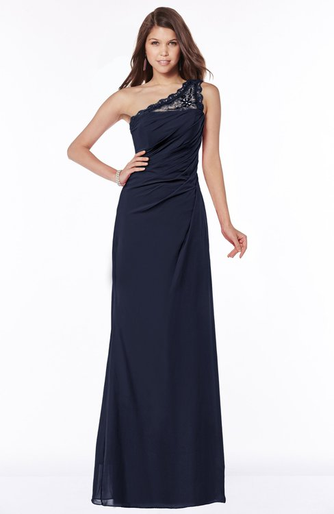 ColsBM Kathleen Dark Sapphire Mature A-line One Shoulder Half Backless Floor Length Lace Bridesmaid Dresses