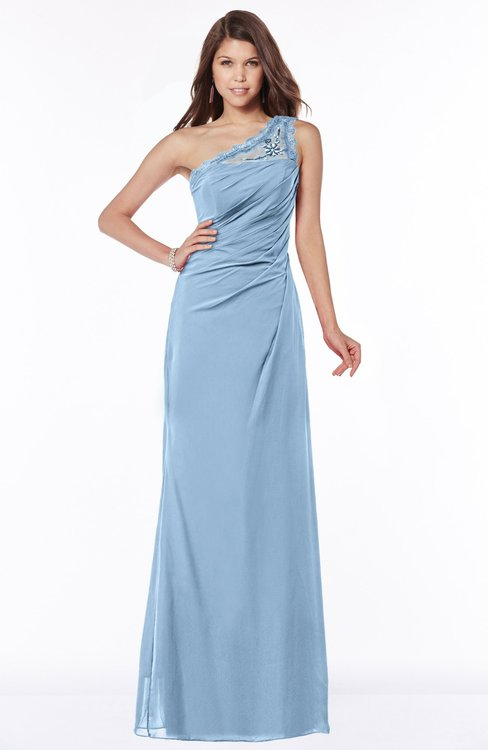 ColsBM Kathleen Dusty Blue Mature A-line One Shoulder Half Backless Floor Length Lace Bridesmaid Dresses