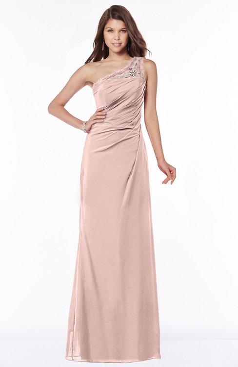 ColsBM Kathleen Dusty Rose Mature A-line One Shoulder Half Backless Floor Length Lace Bridesmaid Dresses