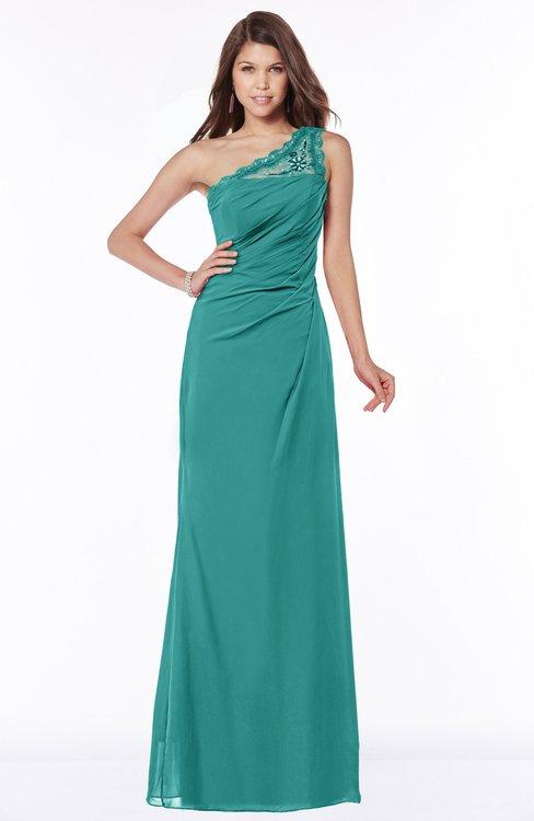ColsBM Kathleen Emerald Green Mature A-line One Shoulder Half Backless Floor Length Lace Bridesmaid Dresses