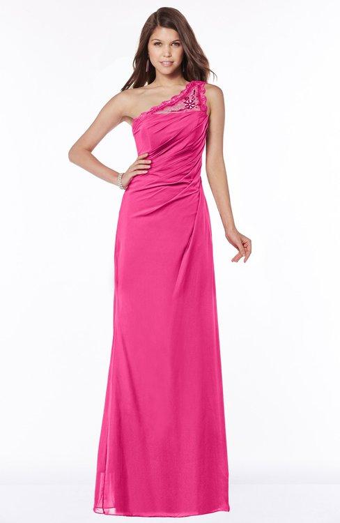 ColsBM Kathleen Fandango Pink Mature A-line One Shoulder Half Backless Floor Length Lace Bridesmaid Dresses