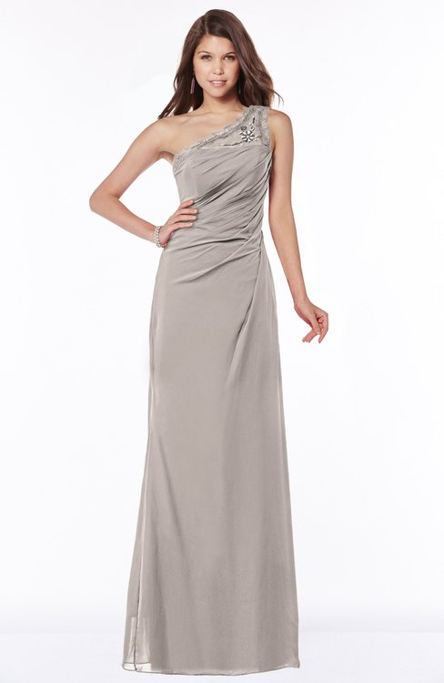 ColsBM Kathleen Fawn Mature A-line One Shoulder Half Backless Floor Length Lace Bridesmaid Dresses