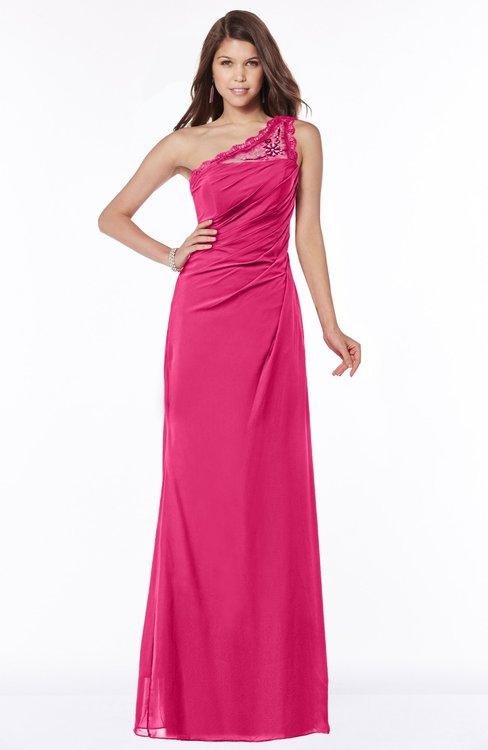 ColsBM Kathleen Fuschia Mature A-line One Shoulder Half Backless Floor Length Lace Bridesmaid Dresses