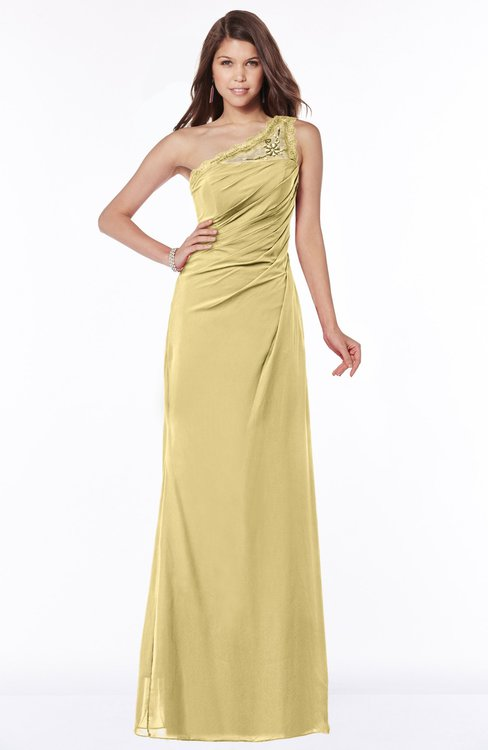 ColsBM Kathleen Gold Mature A-line One Shoulder Half Backless Floor Length Lace Bridesmaid Dresses