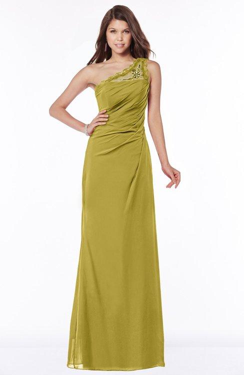 ColsBM Kathleen Golden Olive Mature A-line One Shoulder Half Backless Floor Length Lace Bridesmaid Dresses