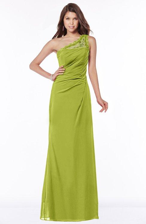 ColsBM Kathleen Green Oasis Mature A-line One Shoulder Half Backless Floor Length Lace Bridesmaid Dresses