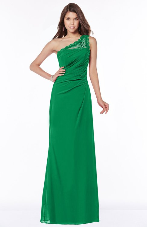 ColsBM Kathleen Green Mature A-line One Shoulder Half Backless Floor Length Lace Bridesmaid Dresses