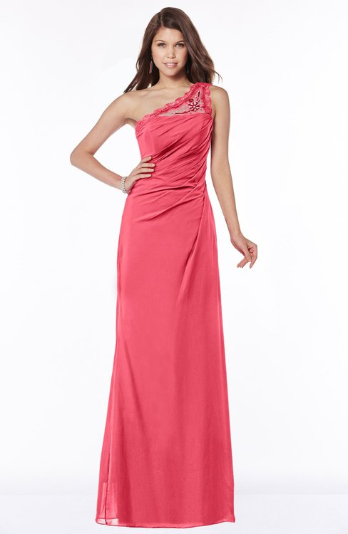 ColsBM Kathleen Guava Mature A-line One Shoulder Half Backless Floor Length Lace Bridesmaid Dresses
